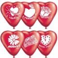 """Сердце 10""""(25см) """"С Любовью"""" кристалл красный (5-6 дизайнов-1 сторона)"""