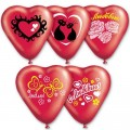 """Сердце 10""""(25см) """"С Любовью"""" кристалл красный, рис.2 цвета (5-6 диз.-1сторона)"""