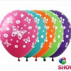 """Бабочки  12""""(30см) ассорти пастель (5 сторон)"""