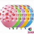 """Сердечки и Поцелуи 12""""(30см) ассорти пастель ( 5 сторон-2 цвета)"""