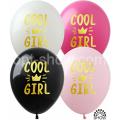 "Cool Girl (золот.краска) 12""(30см) БЕЛЫЙ, ЧЁРН, РОЗОВ.(1сторона)"