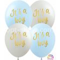 """""""It's a Boy"""" 12""""(30см) БЕЛЫЙ и ГОЛУБОЙ (1 сторона)"""