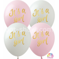 """""""It's a Girl"""" 12""""(30см) БЕЛЫЙ и РОЗОВЫЙ (1 сторона)"""