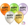 """""""С Днём Рождения - Happy Birthday"""" 12""""(30см) МЕТАЛЛИК ассорти (1сторона)"""
