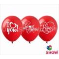 """""""I Love You"""" 12""""(30см) пастель  КРАСНЫЙ (1сторона)"""