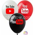 "YouTube 12""(30см) БЕЛЫЙ, КРАСН, ЧЁРН. (1 сторона)"