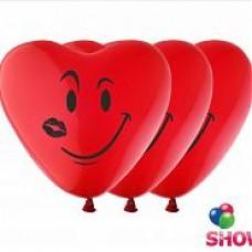 """12"""" Сердце-Смайлик (красные ) 1 сторона"""