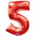 """Цифра """"5"""" 35""""(88см) фольга красный"""