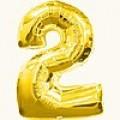 """Цифра """"2""""  26""""(65см) фольга золото ( с клапаном )"""