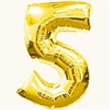 """Цифра """"5""""  26""""(65см) фольга золото ( с клапаном )"""