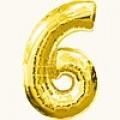 """Цифра """"6""""  26""""(65см) фольга золото ( с клапаном )"""