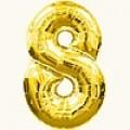 """Цифра """"8""""  26""""(65см) фольга золото ( с клапаном )"""