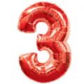 """Цифра """"3""""  35""""(88см) фольга красный"""