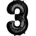 """Цифра """"3"""" 35""""(88см) фольга чёрный"""