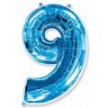 """Цифра """"9"""" 40""""(102см) фольга синяя"""