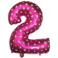 "Цифра ""2"" Сердечки 24""(60см) фольга розовая"