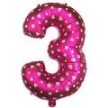 "Цифра ""3"" Сердечки 24""(60см) фольга розовая"