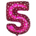 "Цифра ""5"" Сердечки 24""(60см) фольга розовая"