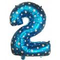 """Цифра """"2"""" Звёзды 24""""(60см) фольга синяя"""
