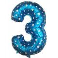 """Цифра """"3"""" Звёзды 24""""(60см) фольга синяя"""