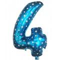 """Цифра """"4"""" Звёзды 24""""(60см) фольга синяя"""