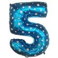 """Цифра """"5"""" Звёзды 24""""(60см) фольга синяя"""