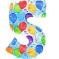 "Цифра ""5"" 35""(88см) фольга ""шарики"""