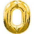 """Цифра """"0""""  26""""(65см) фольга золото (с клапаном)"""