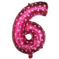 "Цифра ""6"" Сердечки 24""(60см) фольга розовая"