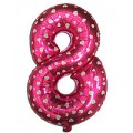 "Цифра ""8"" Сердечки 24""(60см) фольга розовая"
