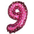 "Цифра ""9"" Сердечки 24""(60см) фольга розовая"