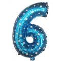 """Цифра """"6"""" Звёзды 24""""(60см) фольга синяя"""