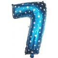 """Цифра """"7"""" Звёзды 24""""(60см) фольга синяя"""