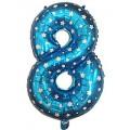 """Цифра """"8"""" Звёзды 24""""(60см) фольга синяя"""