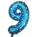 """Цифра """"9"""" Звёзды 24""""(60см) фольга синяя"""