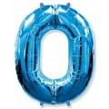 """Цифра """"0"""" 40""""(102см) фольга синяя"""