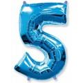 """Цифра """"5"""" 40""""(102см) фольга синяя"""