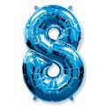 """Цифра """"8"""" 40""""(102см) фольга синяя"""