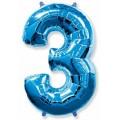 """Цифра """"3"""" 16""""(41см) фольга СИНЯЯ (с клапаном)"""