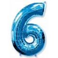 """Цифра """"6"""" 16""""(41см) фольга СИНЯЯ (с клапаном)"""