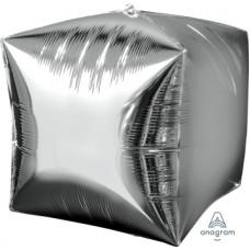 """Куб 3D 15""""(38см) СЕРЕБРО металлик"""