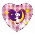 """Сердце 18""""(46см) Кошка на Луне (роз. клетка)"""