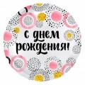 """Круг 18""""(46см) """"С Днём Рождения"""" КРУГИ розовые (белый) 514"""