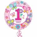 """Круг 18""""(46см) 1-й День Рождения девочка (в упаковке)"""
