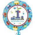"""Круг 18""""(46см) 1-й День Рождения мальчик (в упаковке)"""
