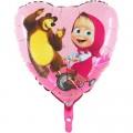 """Сердце 18""""(46см) Маша и Медведь, С Любовью"""
