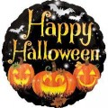 "Круг 18""(46см) ""Happy Halloween"" Тыквы и Летучие мыши (на чёрном)"