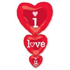 """Сердце """"I L Y"""" тройное красное 36""""(91см) Фигура Большая"""