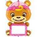 """Мишка в розовом 40""""(102см) с маркером для рисования.Фигура Большая (в упаковке)"""