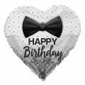 "Сердце 18 "" ( 45см ) "" Happy Birthday "" Бабочка-галстук (серебро)"